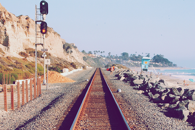 railroad tracks by beach helping travelers with travel quotes