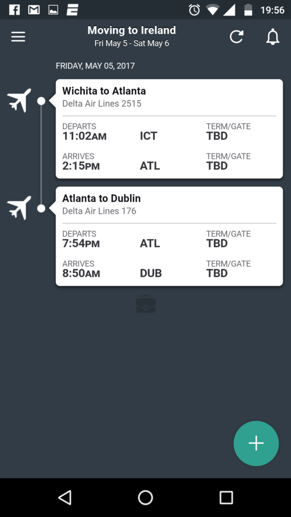screenshot of Tripcase, one of the best travel apps