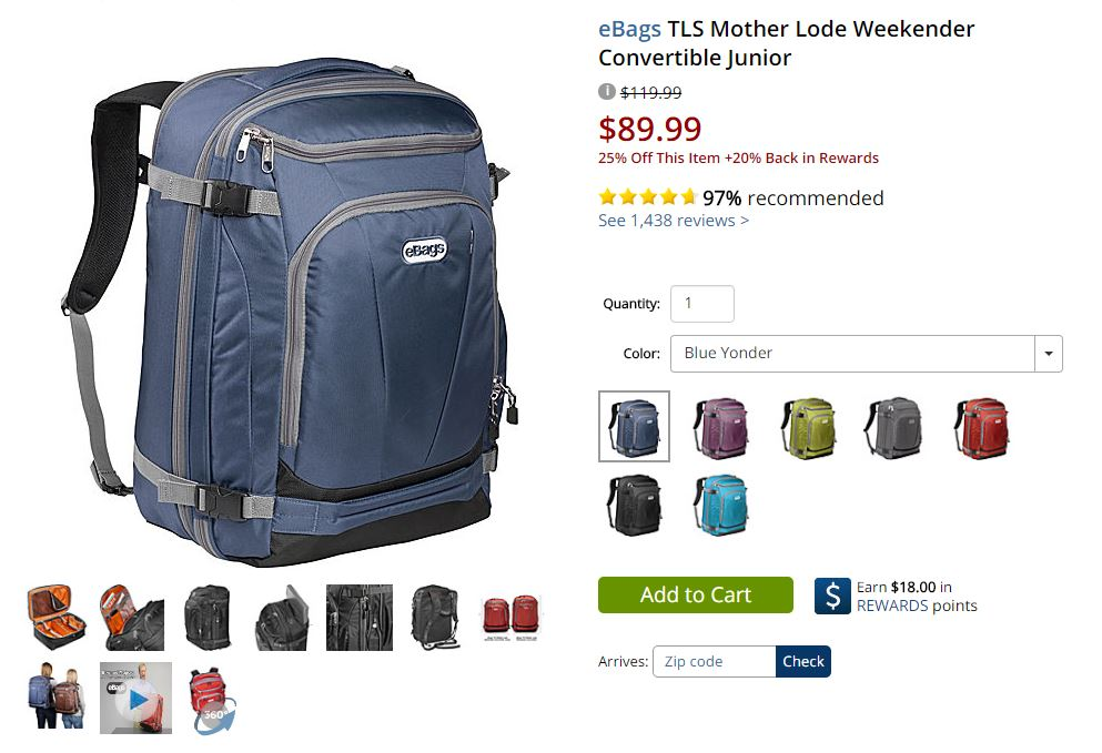 eBags Mother Lode Weekender Convertible Junior on sale for Black Friday