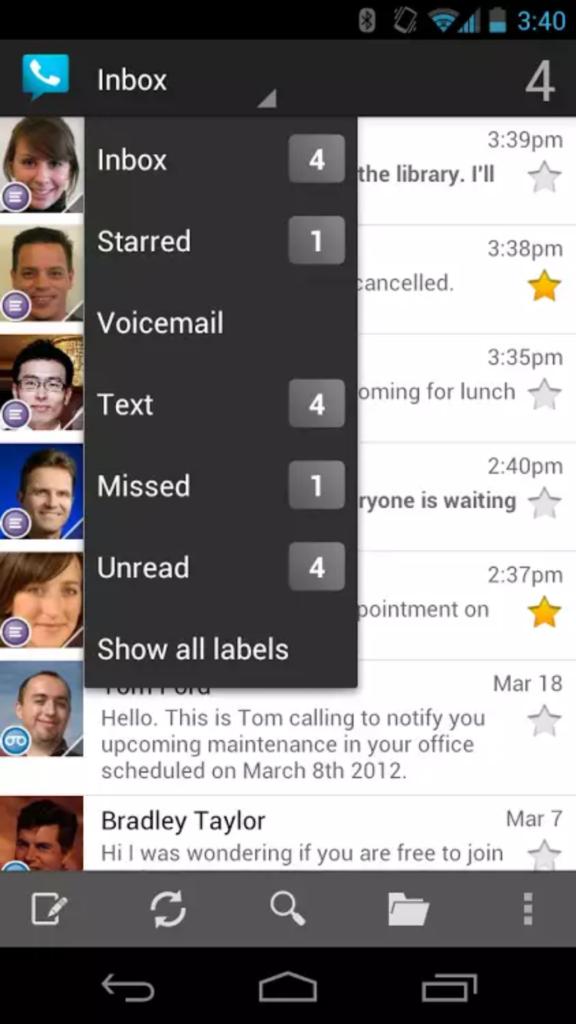 screenshot of Google Voice used when traveling internationally
