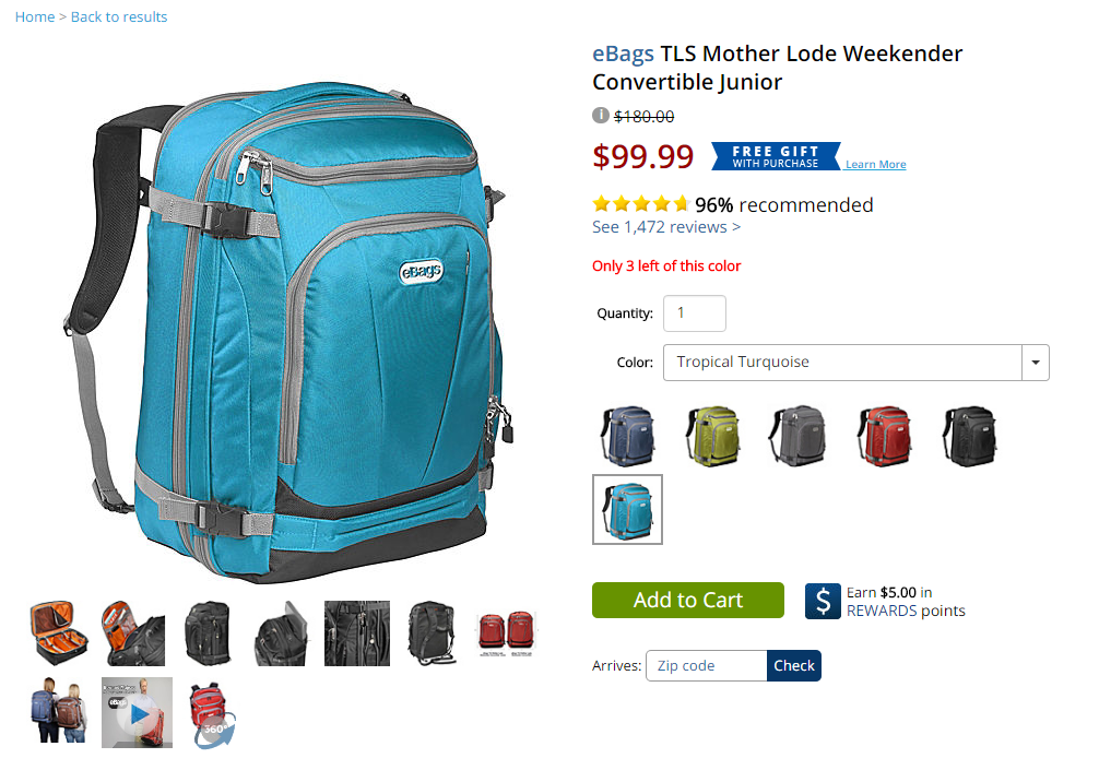 picture of backpacks on ebags.com